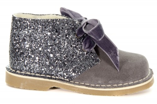 Girls Gray Suede & Glitter Boots