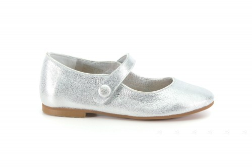 Girls Silver Leather Pumps
