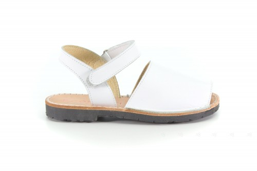 White Leather Traditional Menorcan Sandals Abarcas