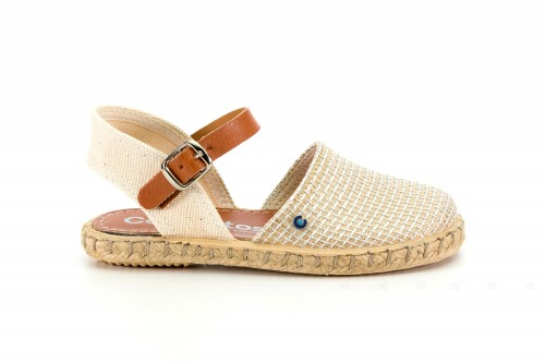 Gold & Beige Espadrille Sandals