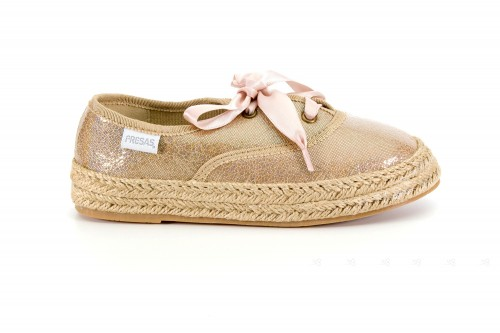 Girls Gold & Beige Espadrilles with Satin Laces