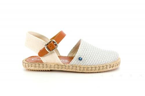 Silver & Beige Espadrille Sandals