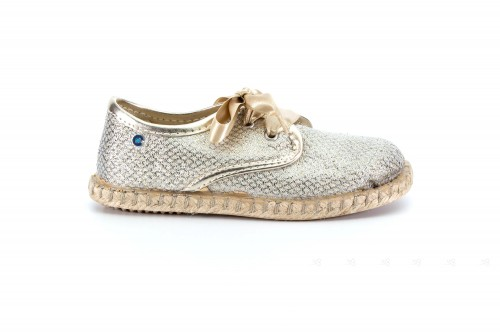 Gold & Beige Espadrilles with Satin Laces