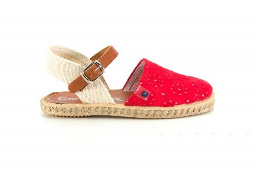 Red Embroidered Espadrille Sandals