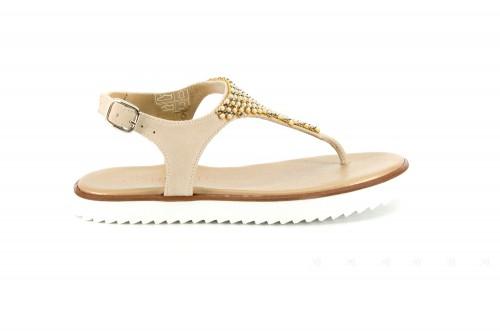 Girls Bige Suede & Diamanté Sandals