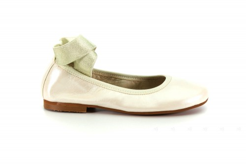 Dark Ivory Pearl Leather Pumps with Gold Elastic Ankle Strap