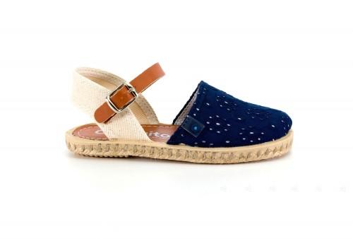 Navy Embroidered Espadrille Sandals