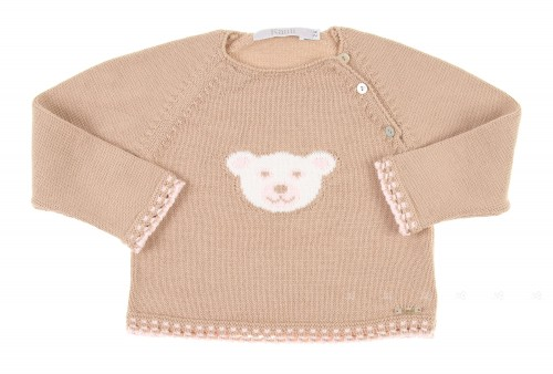 Beige & Pink Knitted Bear Sweater