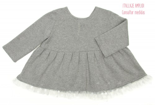 Grey Tunic Top with Tulle Maxi Bow & frilly hem