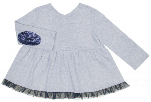 Blue Tunic Top with Tulle Maxi Bow & Sequin Elbow Patches