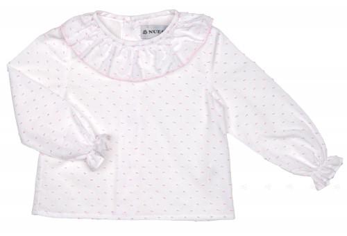 White & Pink Polka Dot Blouse with Ruffle Collar