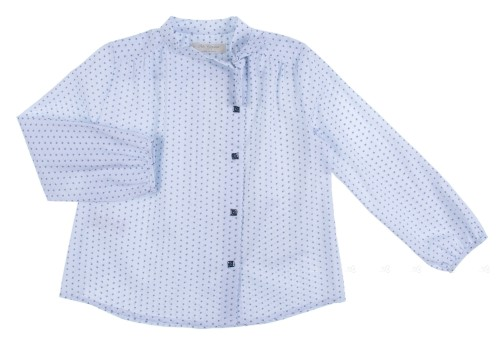 Light Blue Stars Blouse with bow & Swarovski Elements