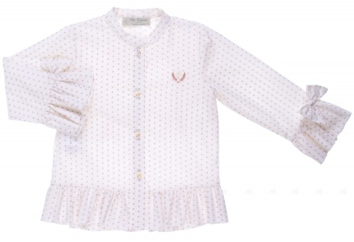 Powder Pink Star Print Blouse With Frill Cuffs & Hem and peral buttons