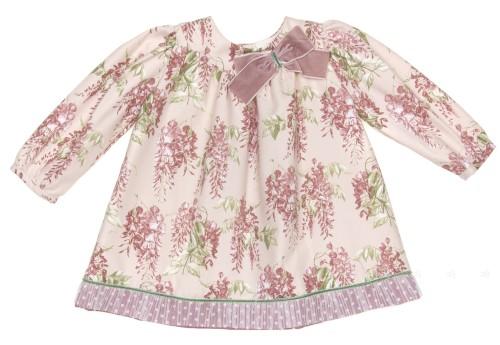 Dusky Pink & Green Floral Dress