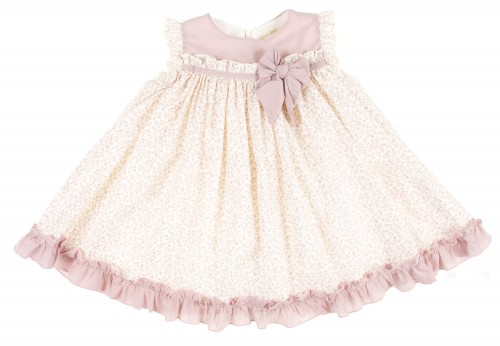 Dusky Pink & Liberty Dress with bow