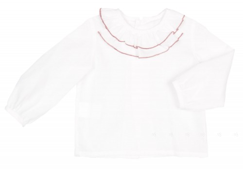 Baby White Blouse with Layered frilly collar