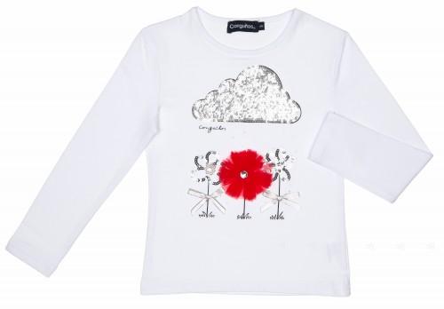 Girls White Cotton Sequin Cloud & Flowers T-Shirt