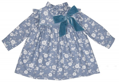 Blue & White Cotton Floral Dress With Velvet Bow