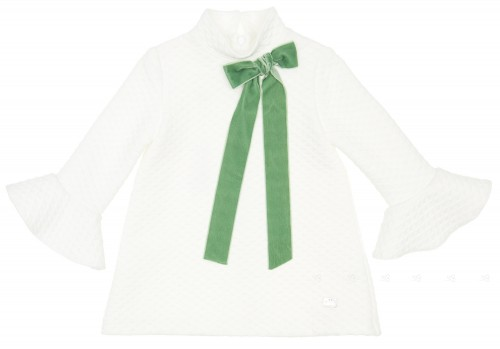 Ivory Stretch Jersey Dress With Green Velvet Bow & Ruffle Cuffs