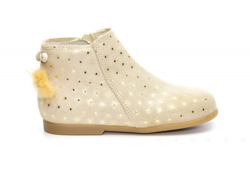 Baby Beige Suede Boots with Sparkly Polka Dots & Pom-Poms