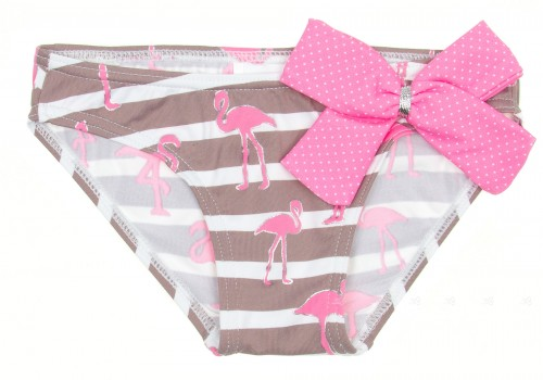Pink & Chocolate Flamingo Bikini Bottoms with bow