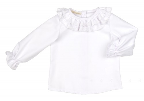 White Cotton Shirt With Double Ruffle Lace Collar