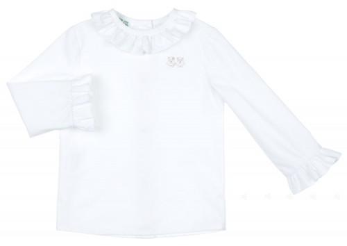 White Polka Dot Blouse with Ruffle Collar