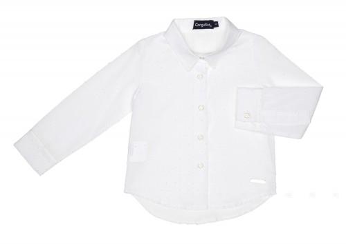 Girls White Cotton Polka Dot Shirt