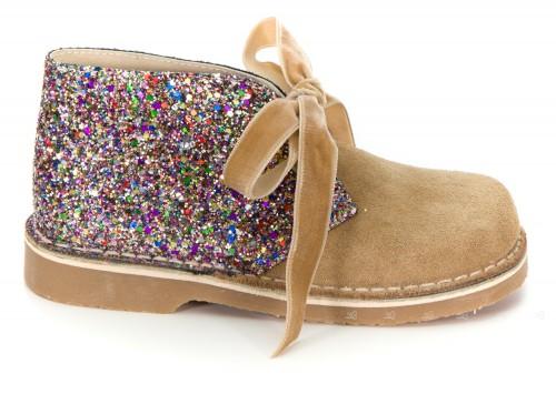 Girls Beige Suede & Glitter Boots