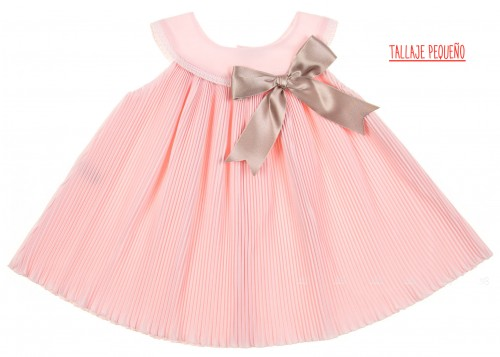 Pale Pink Pleated Dress with Beige Satin Bow