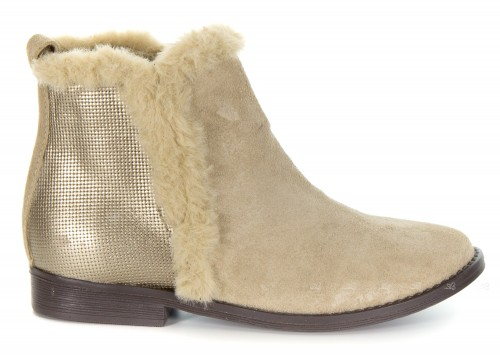 Girls Beige Suede Boots with Synthetic Fur