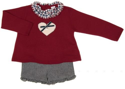 Girls Burgundy Heart Sweater & Denim Short Set