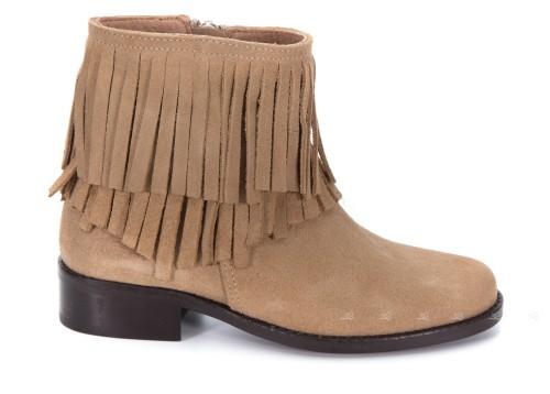 Girls Beige Suede Fringed Boots