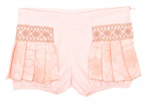 Pastel Pink & Beige Cotton Lace Pleated Shorts
