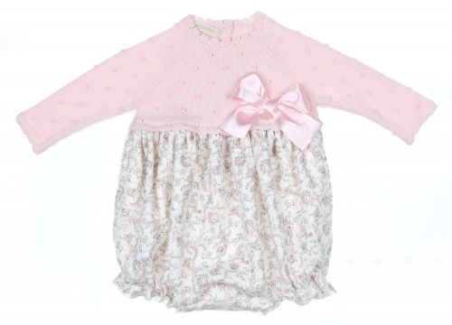 Baby Pink Knitted & Cotton Floral Print Shortie