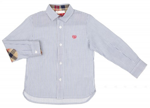 Boys Blue Striped Shirt with Checked Elbow Patches