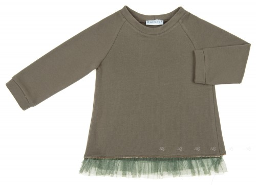 Khaki Jersey Sweater With Tulle Frilled Back