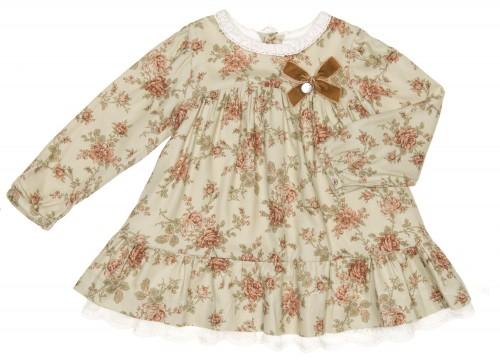 Green & Beige Floral Print Dress