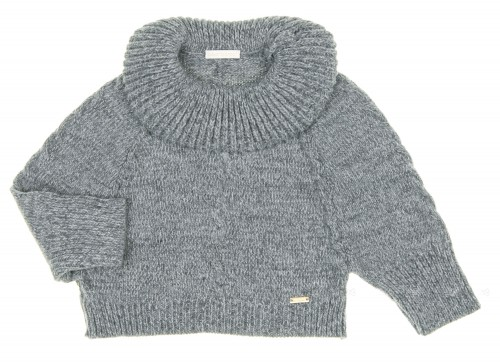 Gray Melange Knitted Cape Sweater
