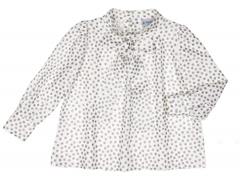 Girls White Blouse & Gray Glitter Polka Dots With Bow Collar