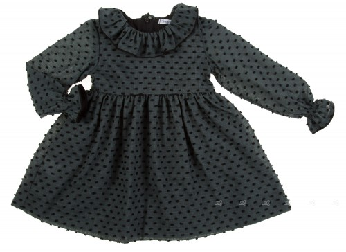 Dark Drey & Black high cut plumeti dress with ruffle collar