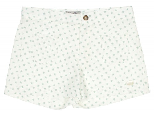 Ivory & Green Stars Print Shorts