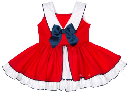 Girls Red & White Layered Dress