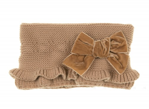 Beige Knitted Ruffle Snood with Velvet Bow