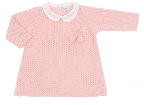 Baby girls pink knitted dress with white rounded collar