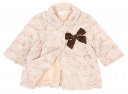 Baby Beige Synthetic Fur Coat with Velvet Bow
