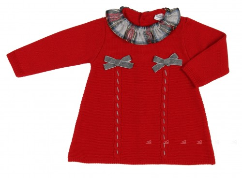 Red & Check Print Knitted Dress