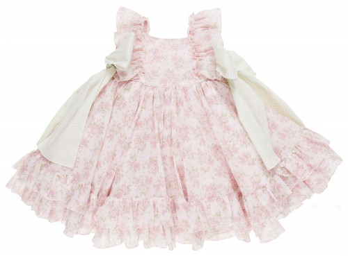 Pale Pink & Green Floral Ruffle Dress with Ribbons