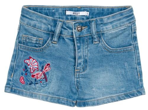 Girls Blue Denim Dragonfly & Flower Shorts