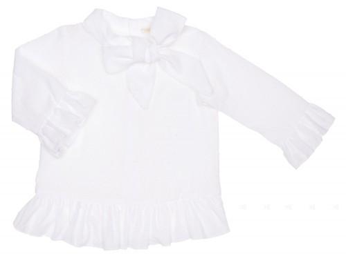 White Polka Dot Blouse With Bow Collar & Ruffle Hem